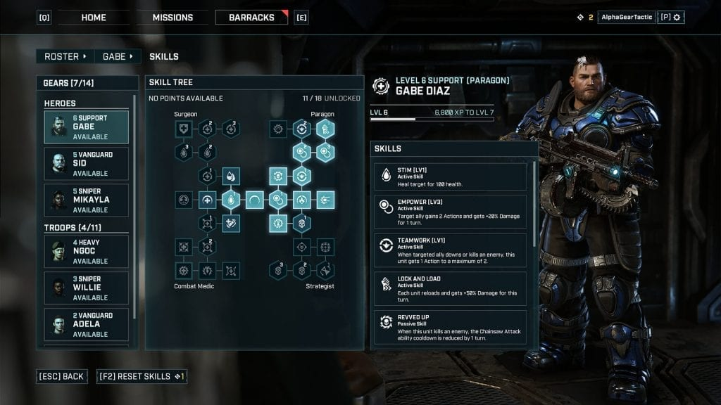 Gears Tactics pick the right skills beginner's guide